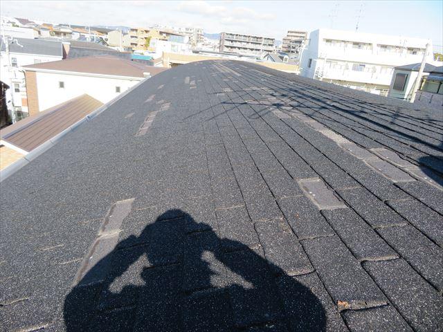 損傷したアスファルトシングル屋根