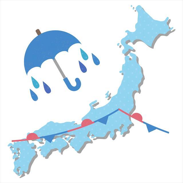 日本列島に停滞する低気圧や梅雨前線には、南の海上から暖かく湿った空気が流れ込むので前線が刺激されて局地的な大雨になることが多い。