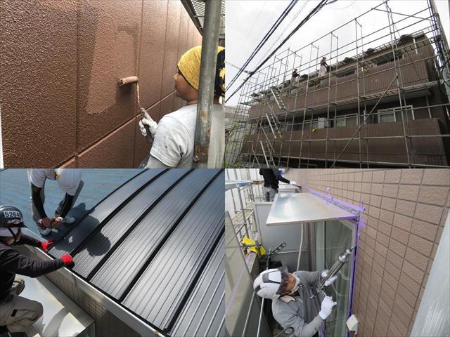 宝塚市の賃貸マンションで屋根カバー工事、外壁塗装工事、外壁コーキング工事の大規模修繕
