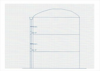 竪樋の固定位置を断面図にすると地震動の揺れがどこに集中するかがわかる
