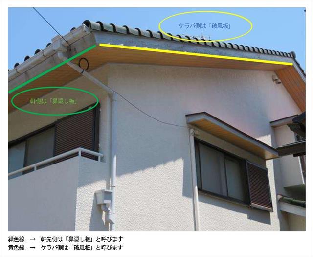 ケラバの破風板と軒先の鼻隠し板がどんなものかを知りたいときに助かる写真