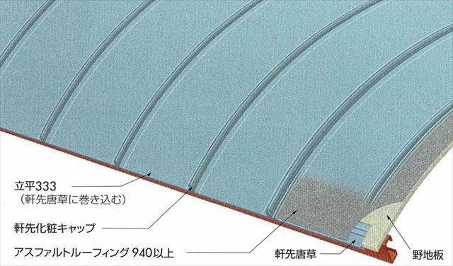 体育館の屋根はアーチ状 ガルバリウム鋼板は遮熱塗装もされている