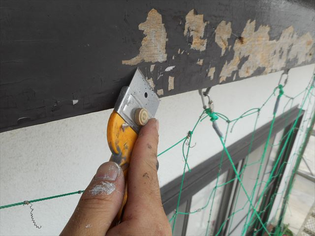 浮いた塗装をスクレーパーで完璧に剥離させることが塗装の美しさと塗装強度に影響が出る大切な作業ポイント