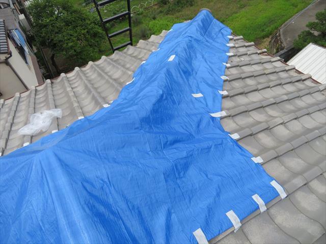 高槻市で大阪北部地震に遭った寄棟の瓦屋根では、傾き崩れた降り棟と大棟の接合部、鬼瓦付近から雨漏りし始めますので、ブルーシートで雨養生をしました。