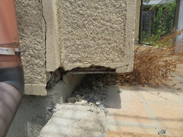 竪樋に近い部分の外壁クラックは、水源が近い点で心配ですね。