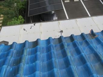 茨木市の瓦屋根では地震の影響で棟瓦が滑り落ちたことでベランダ屋根の波板も割れてしまった