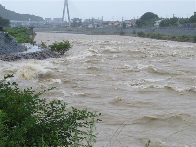 猪名川町、川西市、池田市、伊丹市、尼崎市を流れる猪名川も河川許容量を超えそうな流量です