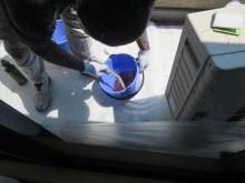 2PLY仕様のFRP防水工事ではガラス繊維基材を2重に敷き込みます