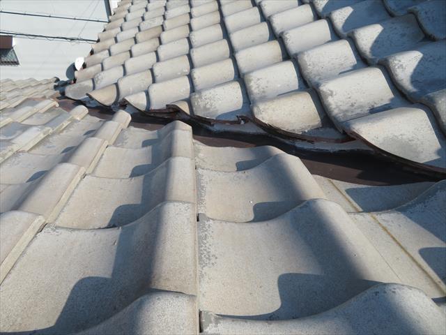 屋根と屋根が接合する部分で入隅になっている所には谷が生じます。谷には板金が仕込まれて、瓦と瓦の間に合流する雨水を排水しています。