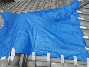 寄棟屋根に架けたブルーシートには隙間が多くできるので風で飛ばされやすくなります。粘着テープで風の入り口をなるべく防ぎます。