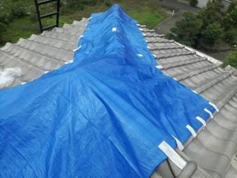 寄棟屋根はその形状から、ブルーシートが密着するように架けることが難しい屋根です。なるべく風が入る箇所を減らすために、粘着テープでシートの端部を押さえて行きます。
