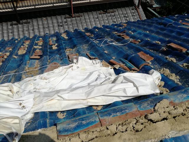 屋根の上に散乱した、紐丸、熨斗瓦、葺き土の回収作業をしなければなりません。散乱した状態でブルーシートを架け直しても、滑り落ちて階下を損傷する危険性が残ります。