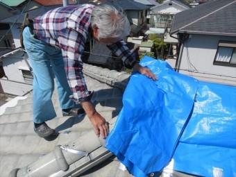 尼崎市でも屋根にブルーシートが架かったままのお宅が見受けられます。街の屋根やさん宝塚店は速やかに屋根工事に入ります。