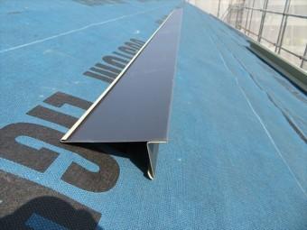 JFEライン立平333の純正水切り板金「唐草」は屋根材と同じくガルバリウム鋼板製