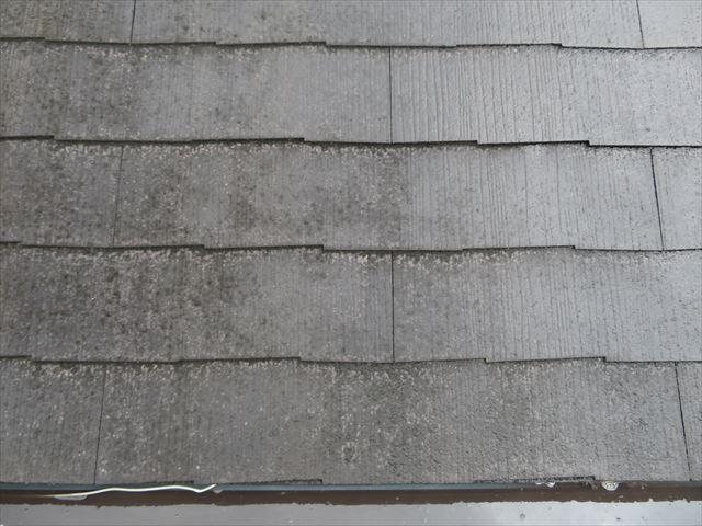 部分的に進めて行く屋根の高圧洗浄作業は、その後のすすぎ洗いの作業を経てはじめて全体的に塗装ができる環境が整う