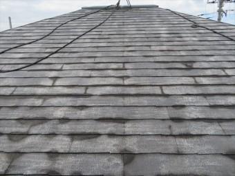 高圧洗浄をした屋根が乾いてくると、屋根の汚れだけでなく古い塗膜も洗い流されて白っぽくなる状態が清潔になった証