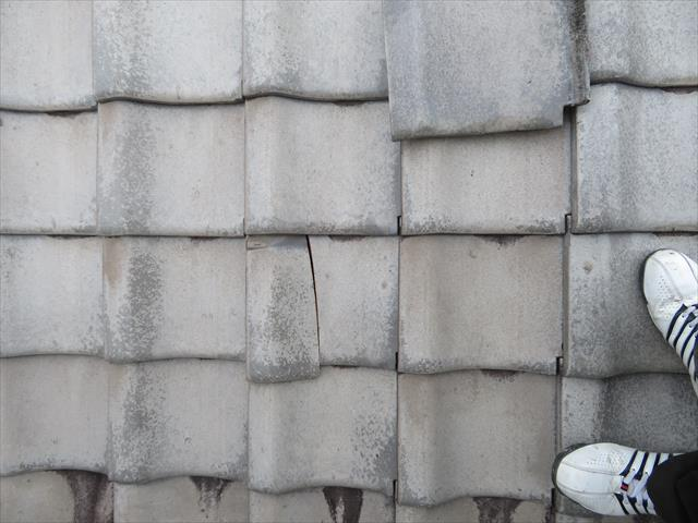 高槻市では隣家の瓦が飛んできて平瓦が割れてしまった。平瓦は差し替えるだけで修理が完了する場合が多く作業は早く進みます。