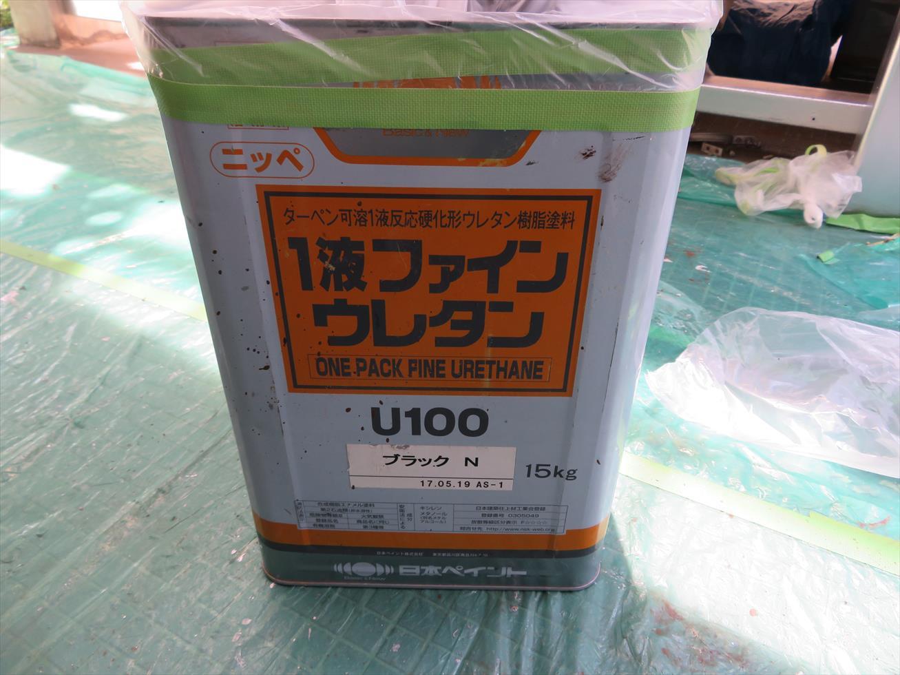 宝塚市マンション大規模修繕に伴う鉄部塗装には日本ペイント1液ファインウレタンU100を仕上げ材として採用