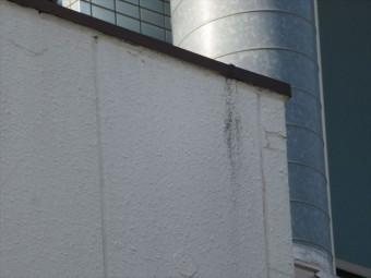 平たい陸屋根は受けた雨を侵入させないように防水されるが、笠木の板金が外壁に接近していると滴った水分が外壁を汚損する