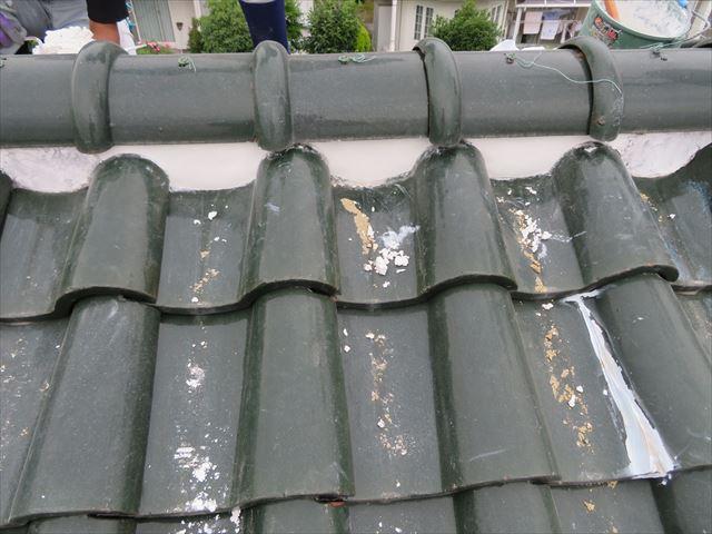 S瓦屋根大棟面戸漆喰の部分補修工事