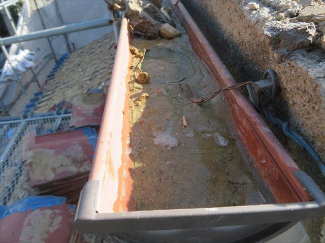 茨木市で地震の影響を受けて大棟の瓦が損傷すると瓦屋根を滑り落ちた葺き土が軒先から落下して軒樋を埋め尽くします