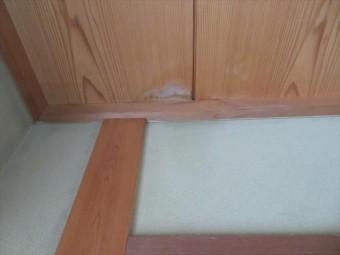 シンダー内部のアスファルト防水が限界を超えたビルの屋上から雨水が入り、階下の居室の天井に雨漏りのシミができてしまった