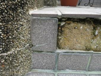 タイルが剥がれた部分から下地を観察すると苔むしている状態で、湿気が常に多くある事を意味している