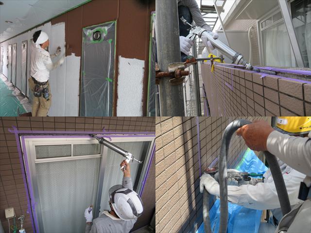 外壁塗装、タイル補修、コーキングの打ち替え工事の外装工事の順序はどう組み立てるのでしょうか。